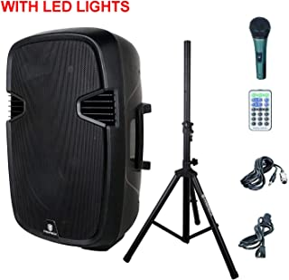 PRORECK PR-C15 Portable 15-inch 600 Watt 2-way Powered Dj/PA Speaker with Bluetooth/USB/SD Card Reader/FM Radio/Remote Control/LED Light/Speaker Stand, Black