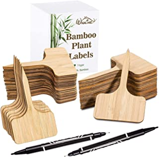 Whaline 100Pcs Bamboo Plant Labels in Gift Box with 2 Marker Pens, Eco-Friendly T-Type Wooden Plant Sign Tags Garden Marke...