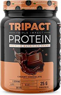 TRIPACT Protein - Chocolate 1.5lb. - Premium Nutrition Shake Featuring Non-GMO Grass Fed Whey Protein, Plant Proteins, Greens, Superfoods and Probiotics.