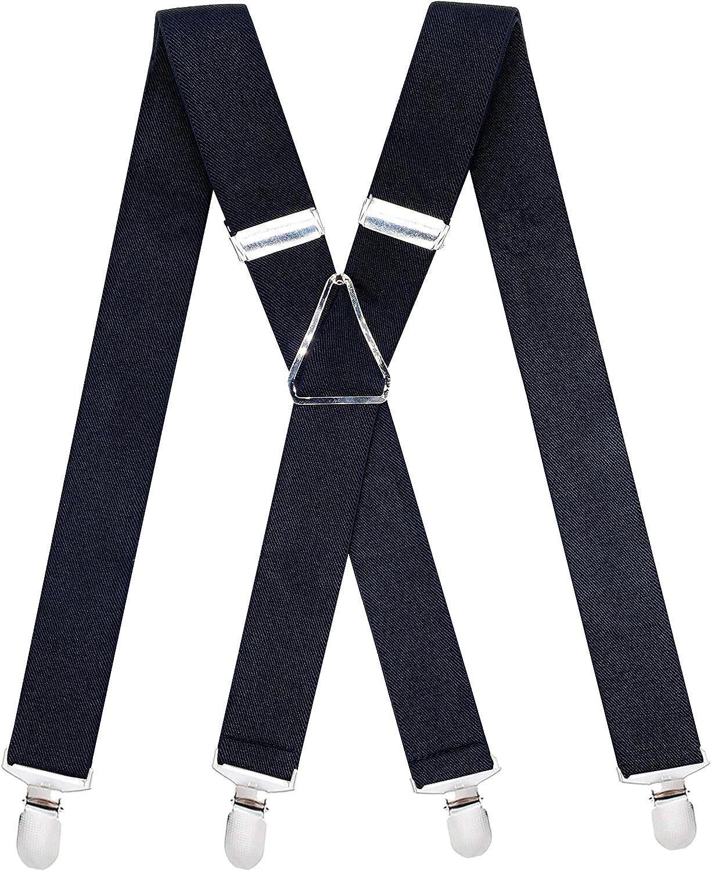 Mens X Back 4 Clips Black Suspenders 1.4 Inch Width Heavy Duty Braces Adjustable