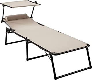comprar comparacion AmazonBasics Aluminium Folding Sun Lounger with Canopy, Three-Legged Lounger with 5 Adjustable Positions,Beige