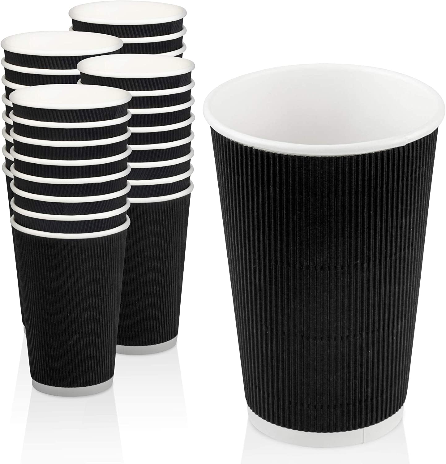 500 Pack Disposable Hot Cups - Tulsa Mall Double sold out Wall Black Insulate 16oz