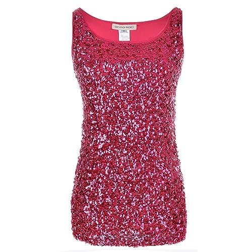 8ed7f507f59 Anna-Kaci Womens Sparkle   Shine Glitter Sequin Embellished Sleeveless  Round Neck Tank Top