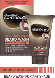 Just For Men Control GX Grey Reducing Beard Wash, Gradually Colors Mustache and Beard, 4 Fl Oz