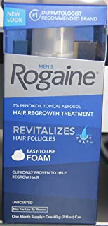 Men's Rogaine 5% Minoxidil Topical Aerosol Hair Regrowth Treatment Unscented One Month Supply 2.11 Oz Can