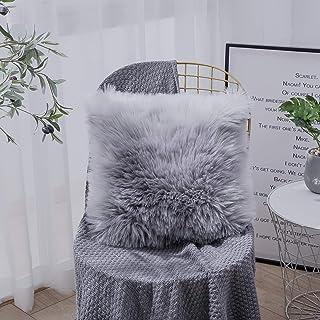 OYIMUA Funda de cojín Decorativa de Piel de Oveja sintética de Pelo Largo para sofá, cojín de imitación (Gris, 60 x 60 cm)