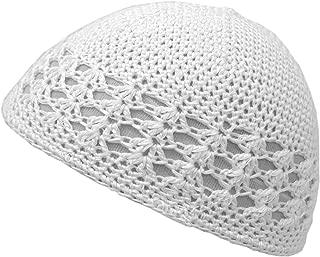 white crochet hat