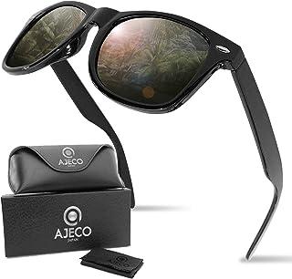 AJECO JAPAN 偏光 サングラス 偏光レンズ ウェリントン UV400 紫外線カット 超軽量 ケース付き ブルーライト メンズ レディース 男女兼用 スポーツ 釣り サイクリング スキー スノボ ドライブ 運転