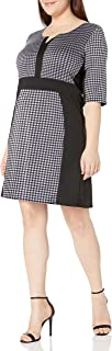Star Vixen Women's Plus Size Elbow Sleeve Ponte Knit Colorblock Fit N Flare Dress