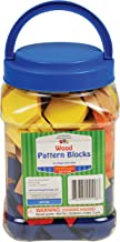 Learning Advantage Wood Pattern Blocks - Set of 250 - 6 Shapes and Colors - 1cm Thick - Early Geometry for Kids - Teach Shape Attributes, Patterning and Fractions