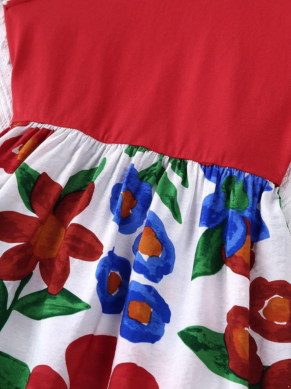 Moily Toddler Kids Girls Flutter Sleeve Floral Printed Dress Boho Girls Spliced Summer Dresses Playwear