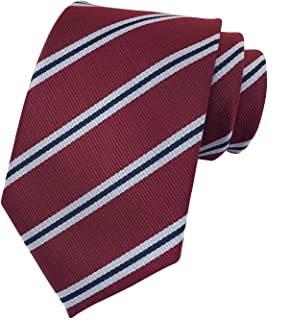 Striped Ties for Men Boys Trendy Repp Graphic Woven Silk Formal Business Necktie