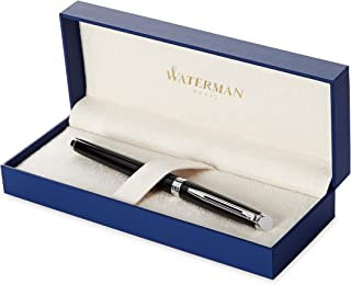 Waterman Hémisphère Fountain Pen, Gloss Black with Chrome Trim, Fine Nib with Black Ink Cartridge, Gift Box