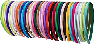 Mudder 34 Pieces 10 mm Baby Girl Satin Headbands Ribbon Covered 36 cm Perimeter Hair Accessories, Multicolor (Multicolor)