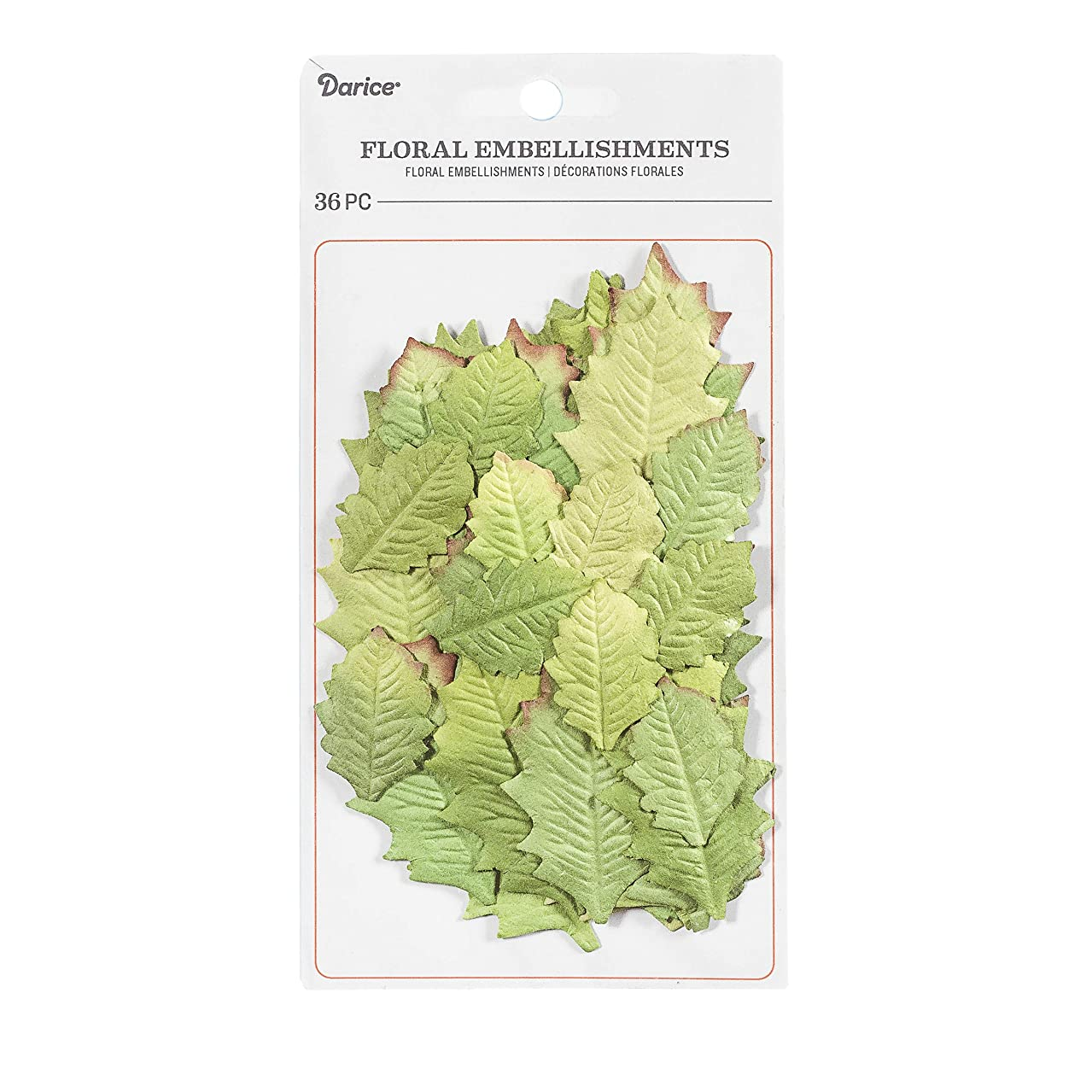 Darice 30062024 Holly Leaves Floral Embellishment: Green, 36 Pack