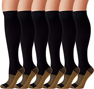 6 Pairs Compression Socks Men Women 20-30mmHg Copper Compression Stocking Graduated Medical Knee High Fit for Running Flight Travel Nurses Pregnant (L/XL)