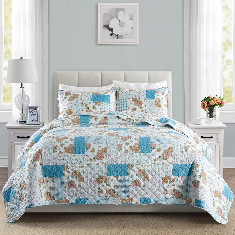 EXQ Home Quilt Set Twin Size Print 2 Piece,Lightweight Microfiber Coverlet Modern Style Blue Flower Pattern Bedspread Set(1 Quilt,1 Pillow Sham)
