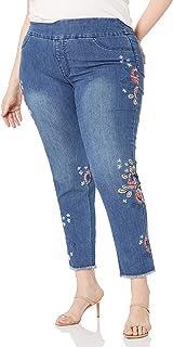 SLIM-SATION womens Plus Size Boyfriend Crop Pant Pants