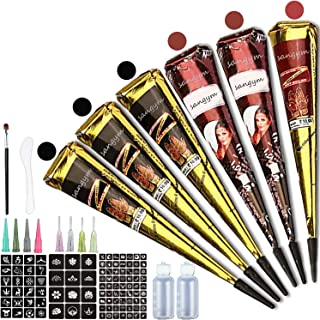 Temporary Tattoo Set, 6 Pcs Waterproof Cones, 99 Pcs Free Adhesive Stencils, 2 Bottle, 8 Pcs Nozzles (Black, Red, Brown)