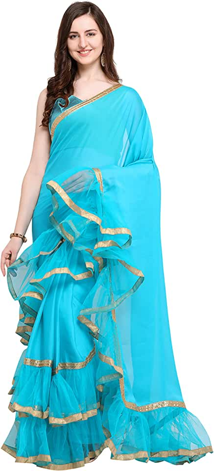 Indian Womanista Women's Crepe Saree with Blouse (FS9794_Turquoise Blue_Onesize_Turquoise Blue) Saree