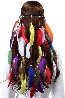 Hippie Feather Headband Indian headband - Handmade Feather Lightweight Indian Fashionable Style Headband 1970s (Mixed-color)
