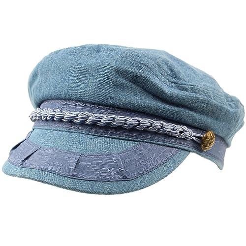 SK Hat shop Men s Summer Cotton Greek Fisherman Sailor Fiddler Driver Hat  Flat Cap 924469154a75