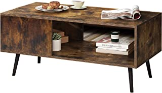 Yusong Retro Rectangular Coffee Table,Wooden Mid-Century Accent Table,Industrial Style Cocktail Table with Storage Shelf f...