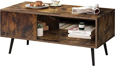 Yusong Retro Coffee Table,Wooden Mid-Century Accent Table,Industrial Style Cocktail Table with Storage Shelf for Living Room,Rustic Brown