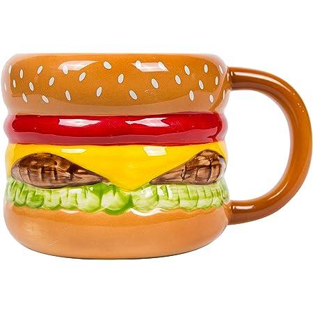 el & groove Tasse à Hamburger 3D en Porcelaine de Haute qualité, Tasse à Fast-Food, idée Cadeau pour Les Amateurs de grillades et de Viande, Cheeseburger