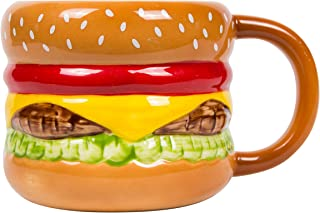 el & groove Taza para Hamburguesa 3D de Porcelana, Taza para Comida rápida, Idea para Regalar a los Amantes de la Parrilla y la Carne, Hamburguesa con Queso