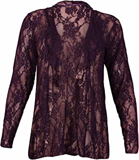 4d3a2ce9c New Womens Plus Size Floral Pattern Lace Cardigan Long Sleeve Womens  Waterfall Open Top