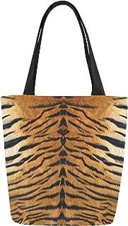 InterestPrint Animal Tiger Print Canvas Tote Bag Shoulder Handbag for Women Girls