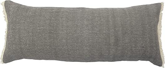 """LR Home Charcoal Gray Solid Fringed Throw Pillow, 14"""" x 36"""""""