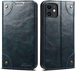 Case Compatible with iPhone 11 Apple Wallet,Blue Leather Retro Texture Folio Card Holder Kickstand Protective Durable Cover Shell for Men Boy Women Girl