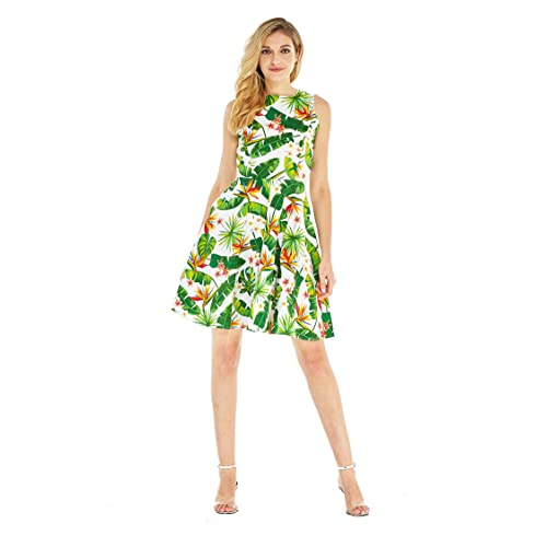 53b247ff9077 Hawaii Hangover Women's Vintage Fit and Flare Dress in Tropical Patterns