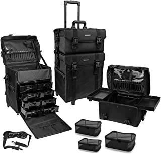 SHANY Cosmetics 2 Compartment Soft Black Rolling Trolley Makeup Case with Free 3 Piece Organizer Mesh Bags, 28 Inch