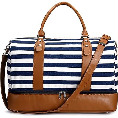 S-ZONE Damen Reisetasche Canvas 40L Weekender Tasche Übergröße Übernachtung Handgepäck Travel Duffle Bag Handtasche Schultertasche mit PU-Lederband und Schuhfach