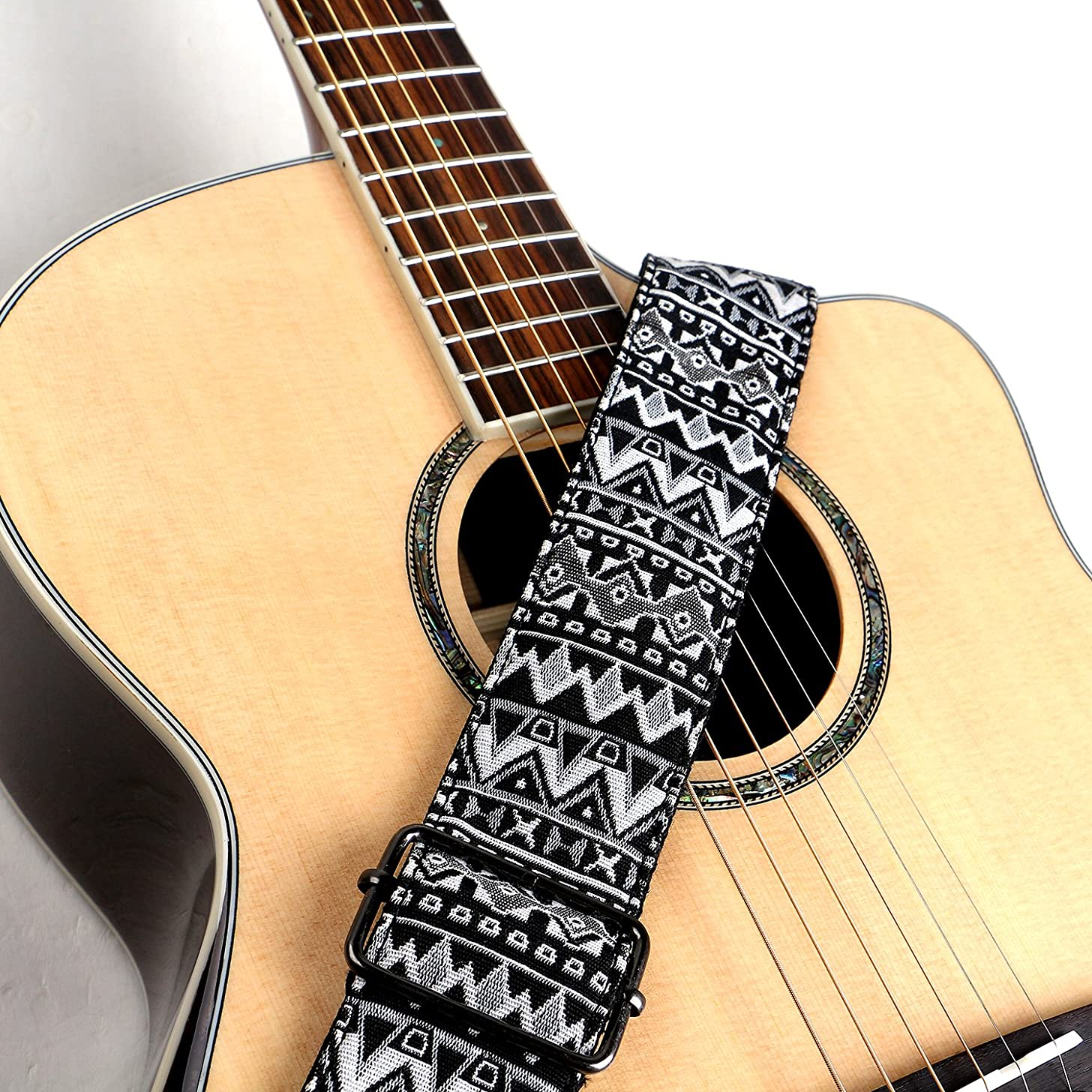 Deviser Ndebele National Style Weave Cotton Guitar Straps,Soft leather end with pick holder For acoustic,classical,electric,bass guitar/2 picks Color Random Free (White)