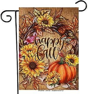 Artofy Happy Fall Pumpkin Home Decorative Garden Flag ، عباد الشمس إكليل المنزل ساحة العشب خمر الديكور الخارجي، الخريف مزر...