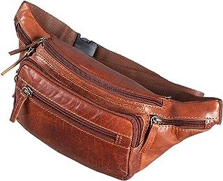 """STILORD Zion"""" Vintage Gürteltasche Echtleder als Bauchtasche Umhängetasche oder Brusttasche Cross-Body Bag Hüfttasche Männer Damen Handy Festival Leder, Farbe:Brandy - braun"""