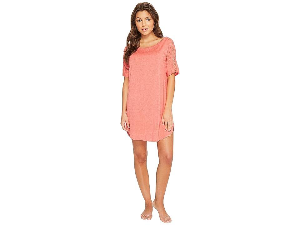 Natori Feathers Essentials Sleepshirt with Lace (Heather Coral) Women
