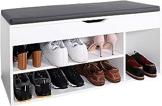 comprar comparacion RICOO WM034-W-A, Banco Zapatero, 104x49x30cm, Armario Interior con Asiento, Organizador Zapatos, Mueble recibidor, Percher...