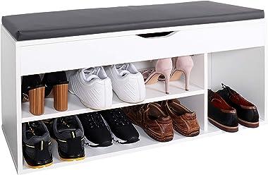 RICOO WM034-W-A Meuble à Chaussures 103x49x30cm Bois Blanc Banc Coffre Rangement Commode Banquette Meuble de Rangement Chauss