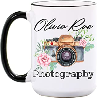 Photography Mug - Personalized Large 15 oz or 11 oz Ceramic Mugs - Gifts for Photographer - Photo Coffee Cups - Camera Mug - Dishwasher & Microwave Safe - Made In USA