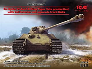 ICM 1/35 Scale Pz.Kpfw.VI Ausf.B King Tiger (Late Production) with Full Interior - WWII German Heavy Tank Model Building K...