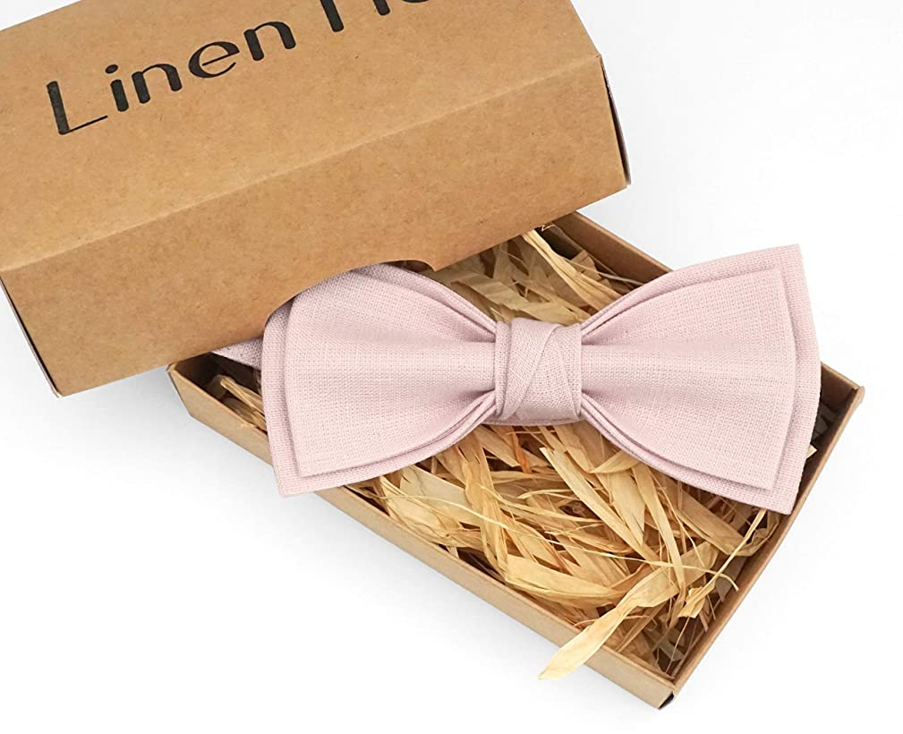 Dusty rose pretied groomsmen and ring bearer bow tie for wedding made from eco-friendly linen, blush pink bow ties for men and boys bow ties available with pocket square, dusty rose baptism bow tie