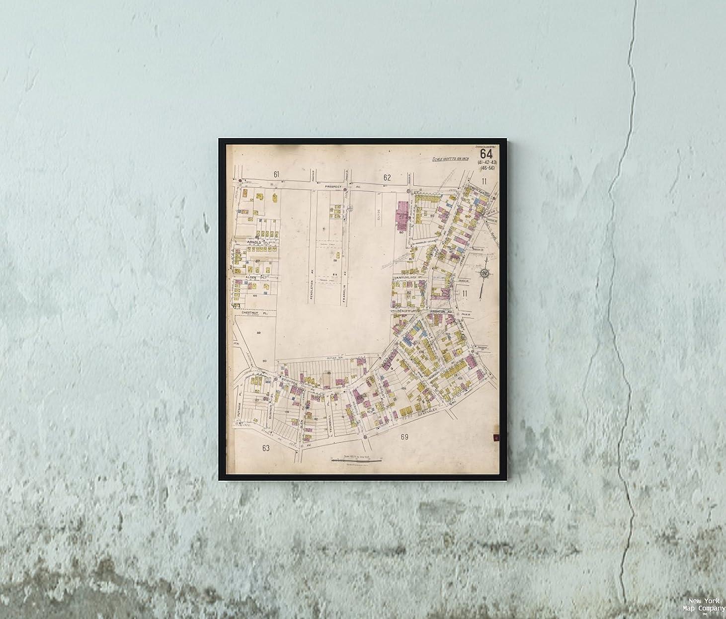 昼寝パラメータ集めるマップ ヨークステテンアイランド、V. 1、プレート番号 64マップ境界 Prospect Ave, ジャージ Stanley Ave, Putnam Pl Sanborn Map Company|ヴィンテージファインアート複製|額装準備済み