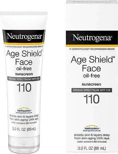 Neutrogena Age Shield Face Lotion Sunscreen with Broad Spectrum SPF 110, Oil-Free & Non-Comedogenic Moisturizing Suns...