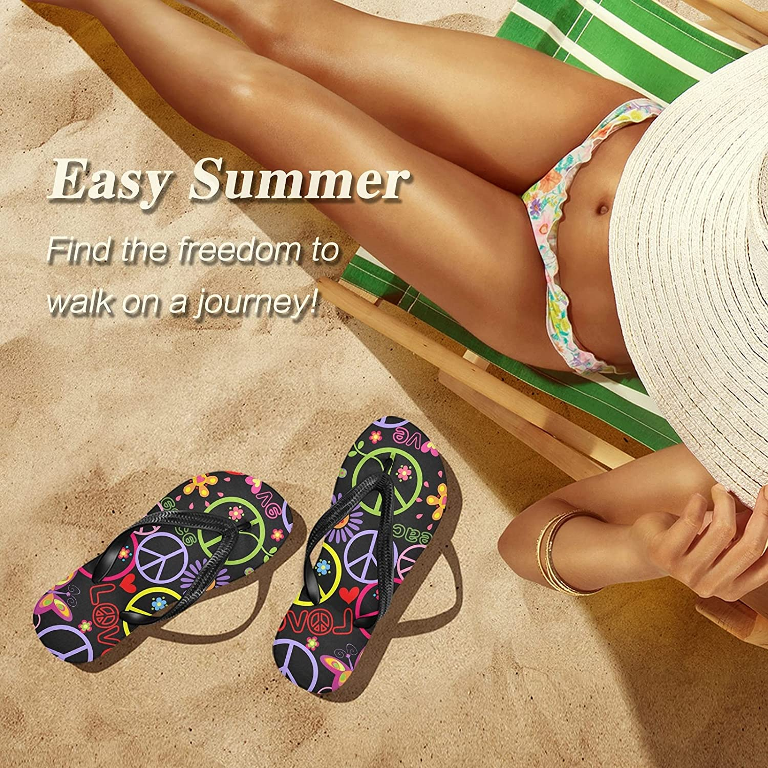 CCDMJ Womens Mens Sandals Peace Sign Floral Flip Flop Comfort Non-Slip Slides Casual Summer Slippers Thong for Beach Swim Indoor Outdoor