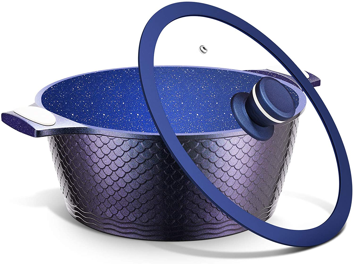 5QT Stock Pot with Lid - Nonstick Saucepan Cooking Pot Pasta Pot with USA Blue Gradient Granite Derived Coating, Heat-resisted Silicon Handle,PFOA&PFOS Free,Induction Compatible, Ideal Christmas Gift